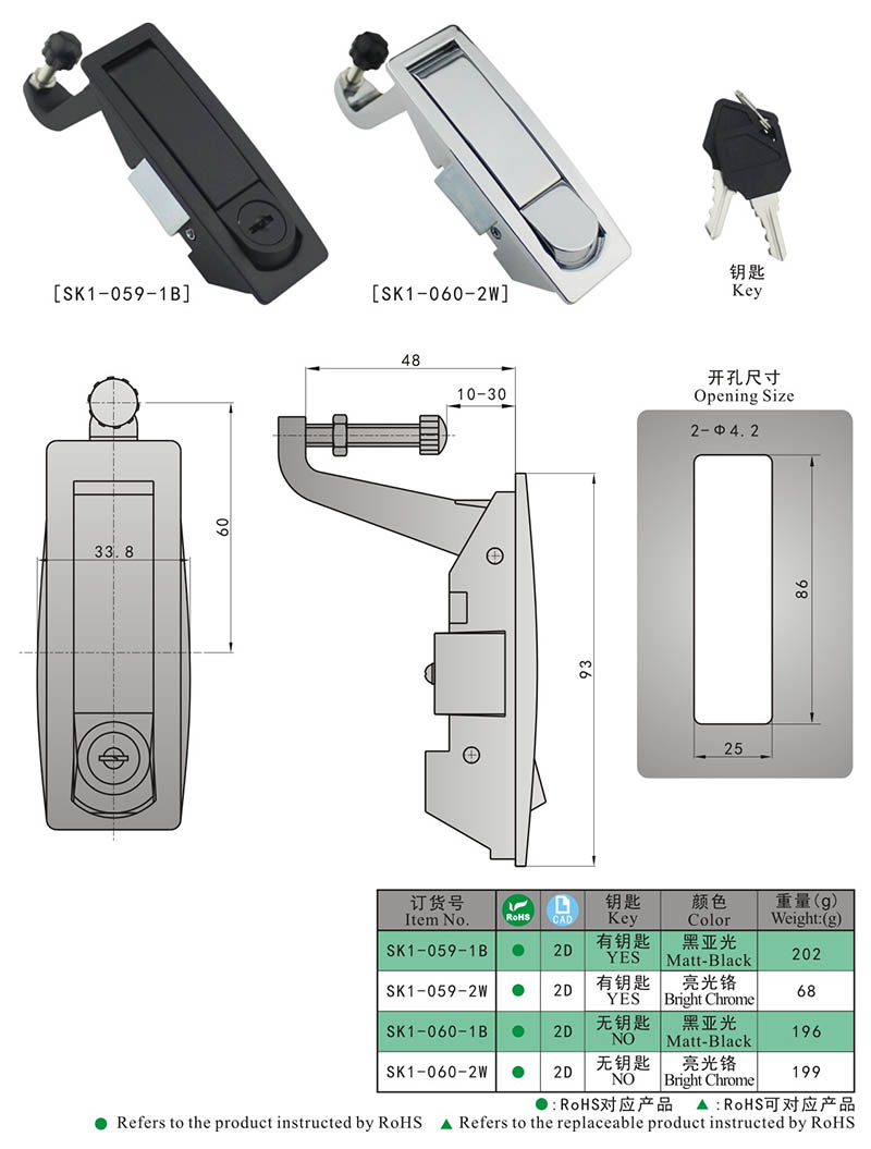 SK1-059 KUNLONG Push Button Lock